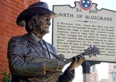 The Bill Monroe statue outside The Ryman Auditorium, Nashville, NT.