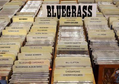 Bluegrass racks in the Ernest Tubb Record Shop, Nashville. TN.