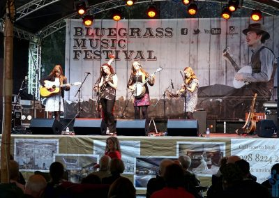 Girlgrass. Midnight Skyracer at the 27th Bluegrass Music Festival, Ulster American Folk Park, Omagh, Northern Ireland. September 1, 2018.