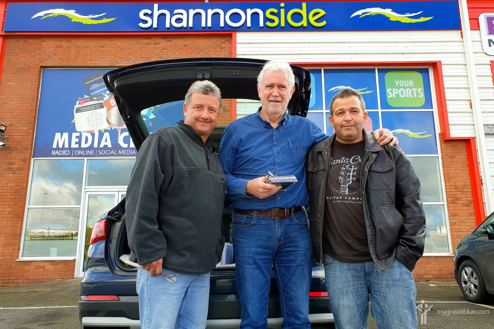 With Charlie McGettigan of Shannonside FM, Longford, Ireland. October 12, 2019.