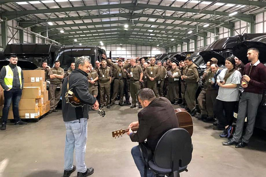 Entertaining the troops. UPS, Dublin. October 11, 2019.